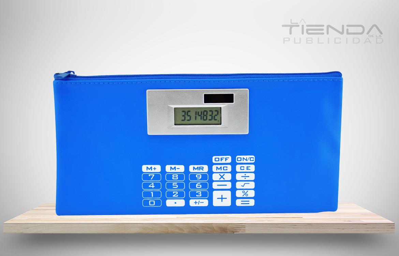 cartuchera calculadora solar azul