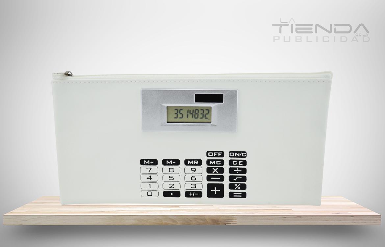 cartuchera calculadora solar blanco