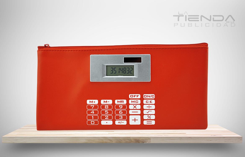 cartuchera calculadora solar roja