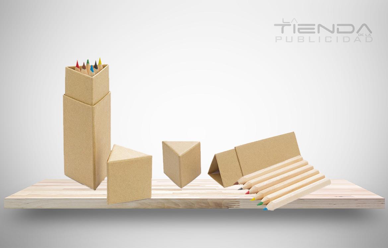 caja triangular colores