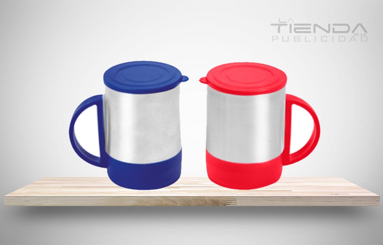 mug con tapa rojo y azul