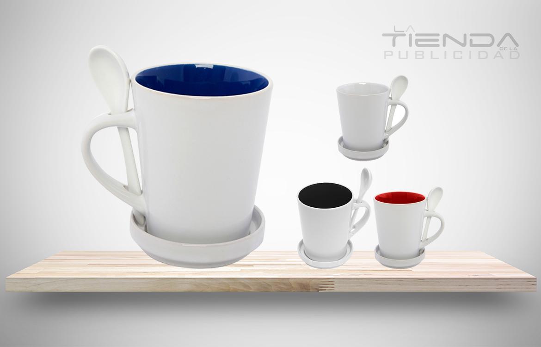 mug taza con cuchara y portavaso