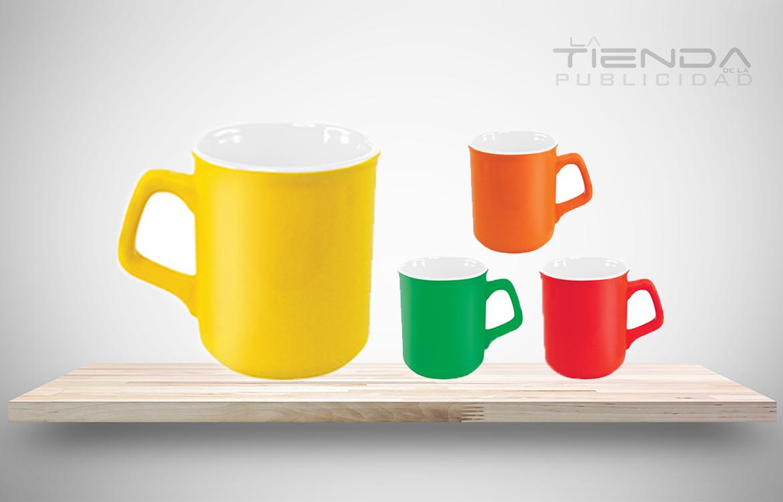 mug taza de colores con interior blanco