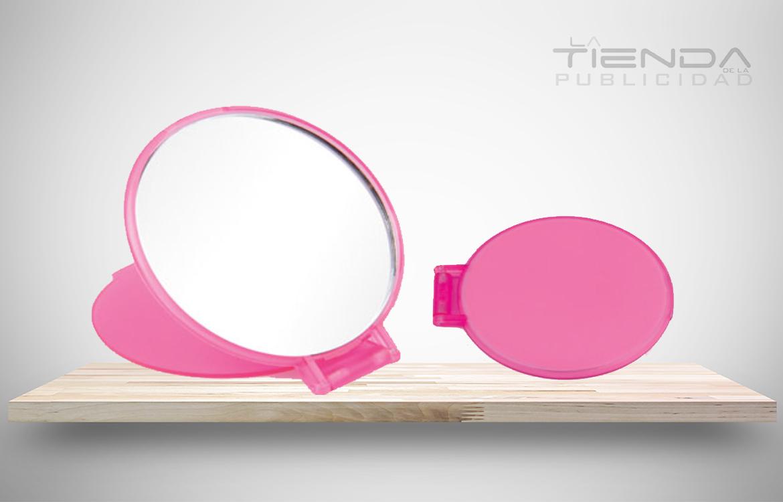 Mini espejo rosado para mujer