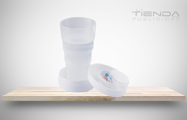 Vaso plegable pastillero