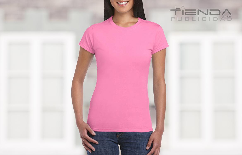 Camiseta damas cuello redondo rosado