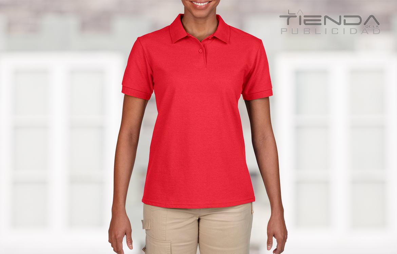 Camiseta damas tipo polo rojo